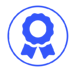 Blue Icon of a customer satisfaction ribbon