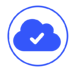 blue icon of a cloud with a check mark in the middle