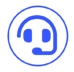 Support agent headset blue icon