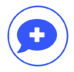 Blue icon of a chat bubble with a plus in the middle