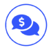 Blue icon of two chat bubbles with a dollar sign in the middle