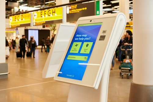 Video calling in kiosk for passengers of Amsterdam Airport Schiphol